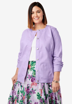 Collarless Denim Jacket, BRIGHT LILAC