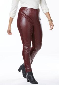 Ankle Zip Leather and Ponté Jeggings, DEEP MERLOT
