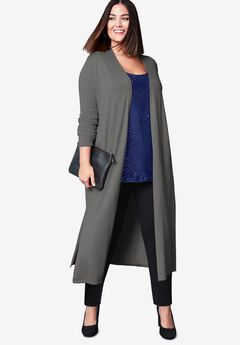 Cotton Cashmere Duster Sweater, CHARCOAL GREY