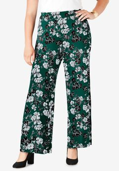 Everyday Stretch Knit Palazzo Pant, DARK EMERALD BOUQUET