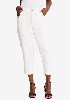 L-Pocket Denim Capris, WHITE