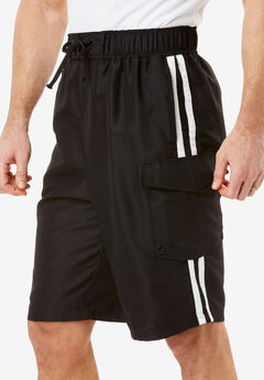 Double Stripe Board Shorts, BLACK