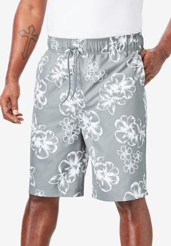 Hibiscus Print Swim Trunks, GUNMETAL