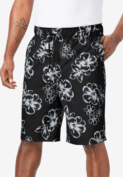 Hibiscus Print Swim Trunks, BLACK