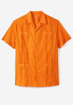 KS Island™ Short-Sleeve Guayabera Shirt, FLAME ORANGE