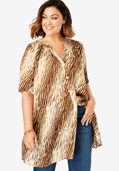 Angelina Tunic, NATURAL TEXTURED ANIMAL