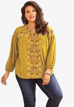 Embroidered Blouson Top,