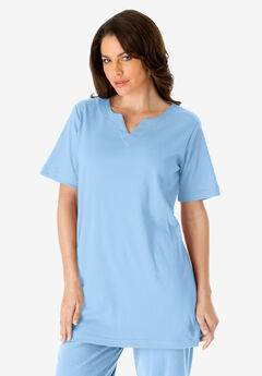 Notch Neck Tunic, BLUE MIST