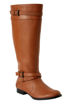 The Janis Wide Calf Leather Boot by Comfortview®,