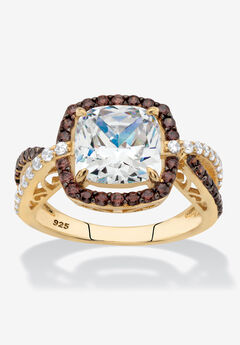 Gold & Silver Princess-Cut Cubic Zirconia Ring,