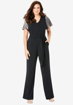 Wide-Leg Jumpsuit, BLACK