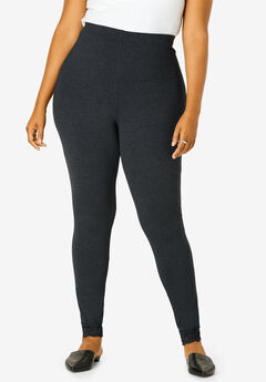 Lace-Trim Essential Stretch Legging, HEATHER CHARCOAL