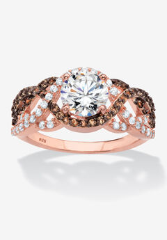 Rose Gold-Plated Silver Ring Cubic Zirconia,