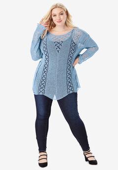 Open-Knit Sweater, BLUE MIST