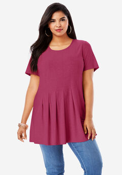 Pleated Tunic with Short Sleeves, VERY BERRY