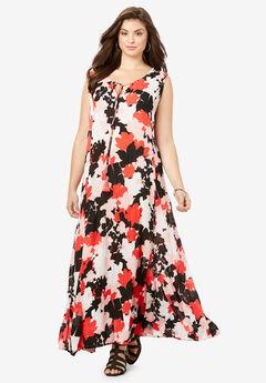 Crinkle A-Line Maxi Dress,