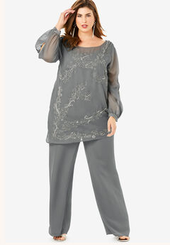 Beaded Illusion-Sleeve Top, SLATE