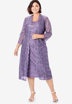 Lace & Sequin Jacket Dress Set, SWEET GRAPE