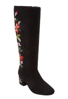 The Wilamina Wide Calf Boot by Comfortview®, BLACK FLORAL
