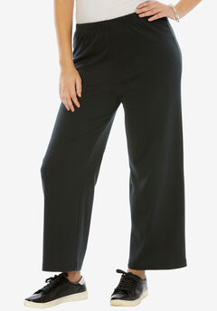Wide-Leg Soft Knit Pant, BLACK