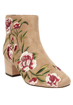 The Sidney Booties by Comfortview®, BEIGE EMBROIDERY