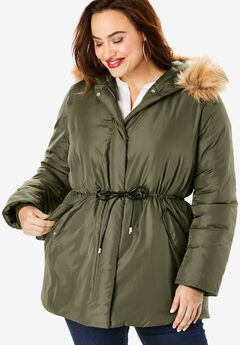 Anorak Puffer Coat, DARK OLIVE GREEN