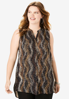 Sleeveless Georgette Blouse with Side Slits, BROWN DOT