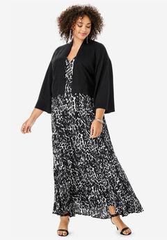 Cropped Kimono-Sleeve Cardigan, BLACK