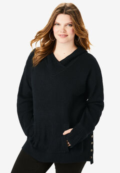 Thermal Hoodie Sweater, BLACK