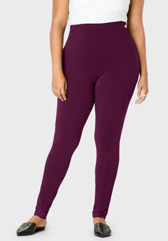 Lace-Trim Essential Stretch Legging, DARK BERRY