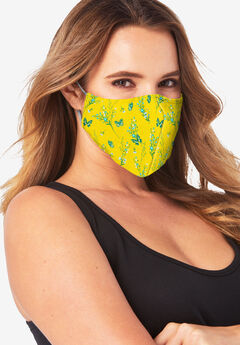 Women's Two-Layer Reusable Face Mask, YELLOW SPRING FLORAL
