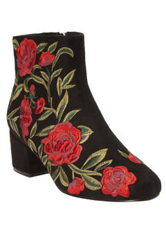 The Sidney Booties by Comfortview®, BLACK EMBROIDERY