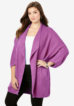 Drape Collar Ribbed Cardigan, PRETTY ORCHID