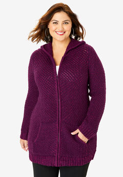 Tweed Thermal Hoodie Cardigan, DARK BERRY BERRY TWIST