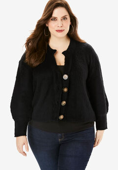 Cropped Button Cardigan,
