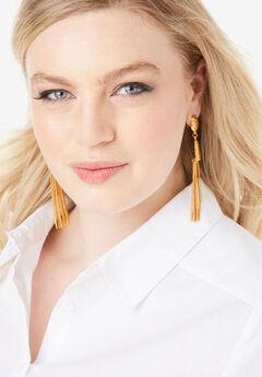 Fringe Drop Earrings, GOLD