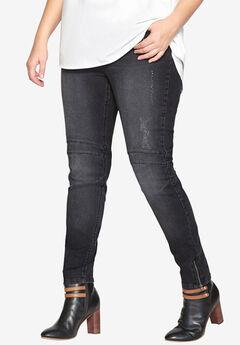Moto Skinny Jean by Castaluna, BLACK DENIM