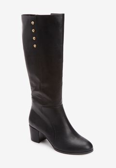 The Shay Wide Calf Boot , BLACK
