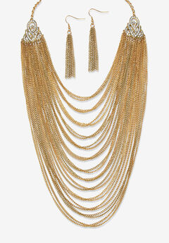 "Gold Tone Waterfall 22"" Necklace and Drop Earring Set,"
