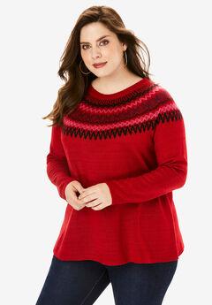 Fair Isle Pullover Sweater, RED FAIR ISLE
