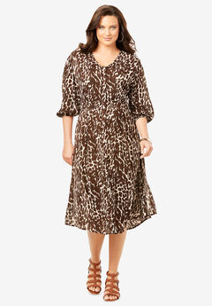 Crinkle Midi Dress, BEIGE BROWN ANIMAL