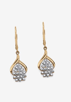 Gold & Sterling Silver Cluster Drop Earrings with Diamond Accent,
