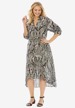 High-Low Crinkle Dress, BLACK PAISLEY PRINT