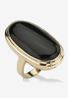 Gold-Plated Black Onyx Ring,