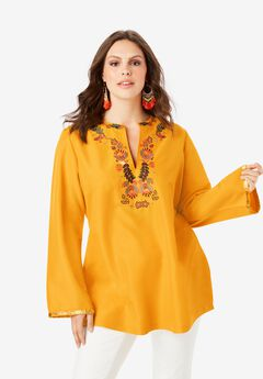 Flared-Sleeve Tunic with Embellishments, SUNSET FOLK EMBELLISHMENTS
