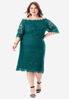 Off-The-Shoulder Lace Dress with Bell Sleeves, DARK HUNTER