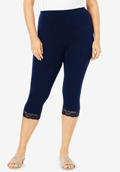 Lace-Trim Essential Stretch Capri Legging, NAVY
