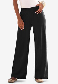 Wide-Leg Soft Knit Pant, BLACK