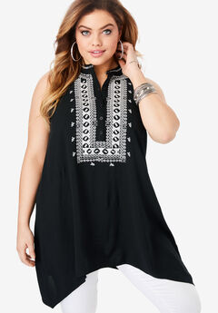 Embroidered Swing Tank, BLACK WHITE COMBO