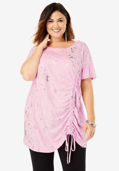 Ruched Drawstring Tunic, SPECKLE PINK FOIL PRINT